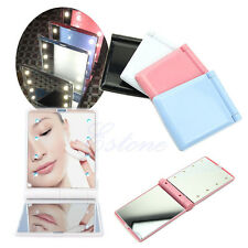 LED Make Up Mirror Cosmetic Folding Portable Compact Pocket with 8 LED Lights