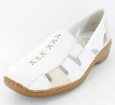Ladies Rieker 41385-80 White Leather Flat Shoes