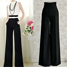 Womens Casual Black Slim High Waist Flare Wide Leg Long Pants Palazzo Trousers