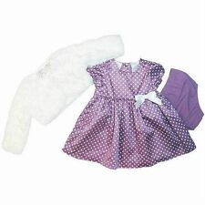 FAO SCHWARZ 3PC BABY GIRL BOLERO JACKET SATIN DRESS SET OUTFIT 12M 18M 24M