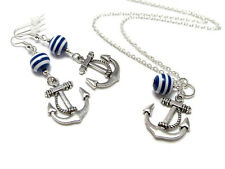 Nautical Beaded Anchor Earrings & Necklace Set • Sailor • Rockabilly • Pin Up