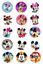 "Mickey Mouse & Minnie Mouse Bottle Cap Images , scrapbooking, bows, 1"" circles"