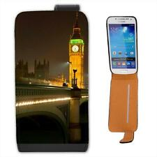 Big Ben Lit Up Bright At Night Leather Flip Case for Samsung S4 Mini