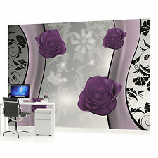 Purple Roses Floral Pattern 2 Photo Wallpaper Wall Mural (CN-1243VE)