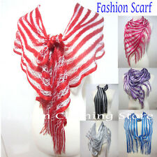 Lightweight Glitter Shiny Long Wrap Shawl Fringe Scarf Stripe Multi-Color