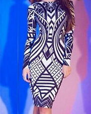 2014 New chic vestidos Tribal Aztec Black White Tight-fitting Midi Dress LC6547