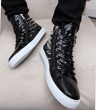 Mens High Top Round Toe Sneakers Lace Up Rivets Platform Wedge Casual Shoes Size