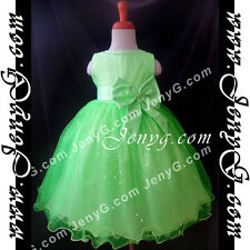 #SB01 Flower Girls/Formal/Pageant/Christening Gowns Dresses, Green 0-4 Years