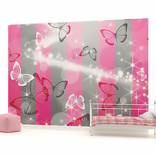 Butterfly Sparkles and Stripes Photo Wallpaper Wall Mural (CN-401P)