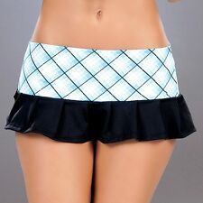 New 5003 Blue Plaid Sexy PLEATED DANCE Wear ROLLER MICRO MINI SKIRT RAVE S M L
