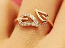 Gold and Silver Leaves Style Crystal Rhinestone Sweet Couple Ring GBU