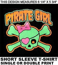 PIRATE GIRL SKULL AND CROSSED BONES PINK BOW AND HEART EYE PATCH T-SHIRT XT71