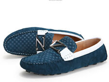 Mens mixed color frosted leather Loafers driving Moccasins casual Peas shoes
