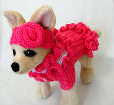 Pet Clothes Spring Outfit Hand-Knit  Dress/ Headband/Scarf/Hat for small Dogs