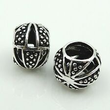S925 Sterling Silver 7X8mm Nepalese Tibetan Bead Charm Spacer WSP115