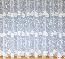 TRADITIONAL THICK HEAVY FLORAL WHITE LACE NET WINDOW CURTAIN 3952 ALL SIZES