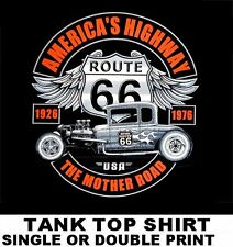 USA ROUTE 66 THE MOTHER ROAD HOT STREET ROD 1932 DEUCE COUPE TANK TOP SHIRT W566