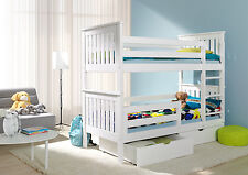 GIRLS WHITE OR PINK BUNK BEDS ,  BOYS  NATURAL PINE OR BLUE BUNK BEDS ,