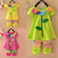 HOT Summer Baby Kid Girl Cotton Flower Clothing Tops T shirt+Pants Outfit Sets