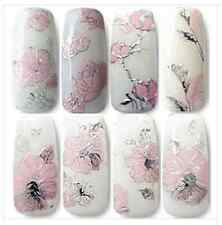 3D DIY Embossed pink flowers Design Nail Art Stickers Manicure Nail Decal Tips