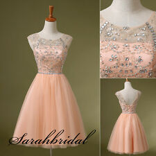 New Crystals Short Homecoming Prom Gowns Cap Sleeves Mini Party Cocktail Dresses