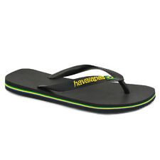 Havaianas Brasil Logo Unisex Flip Flops Black New Sandals Shoes All Sizes