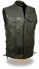 MEN'S SON OF ANARCHY LEATHER MOTORCYCLE VEST 2 GUN POCKETS INSIDE ZIPPERS