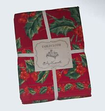 April Cornell Red Christmas Holly 100% Cotton Tablecloth NEW NWT