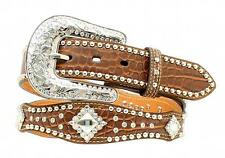 Nocona Western Womens Belt Leather Scalloped Studded Croc Print Brown N3498202