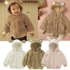 Thick Warm Terry Jacket for Baby Toddler Kid Child 6-24M Top Coat Hood 3-Colours