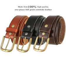 Full Grain Cowhide 100% Leather Casual Jean Belt 1-1/2'' Wide, Black, Brown, Tan