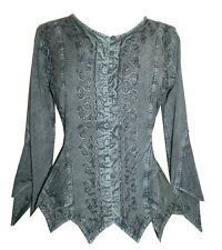 107 TP Agan Traders  Gypsy Medieval Net Outlays Botton Down Vintage Top Blouse