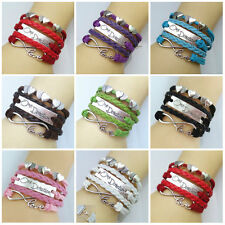New Lots Color Handmade Leather One Direction Heart Infinity Bracelet U Pick