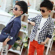Kids Spring Fall Boys Outwear Formal Wedding Party Plaid Dots Jacket Coat 3-8Y