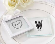 60 Personalized Rustic Themed Glass Coasters Wedding Favor