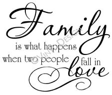 Family is What Happens Fall in Love Quote Vinyl Wall Art Home Decor Wedding Gift