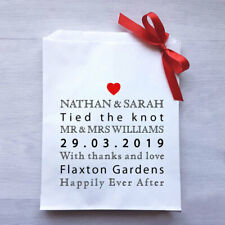 Personalised Wedding White Paper Candy Buffet Lolly Bags x 50