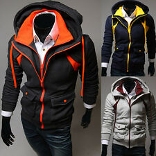 New Mens Hooded Hoodie Zipper Stylish Casual Slim Fit Contrast Color Sweats Coat