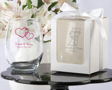 96 Personalized Stemless 9 oz Wine Glass Wedding Bridal Shower Party Favor