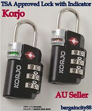 KORJO TSA Approved Compliant Combination Lock Travel Luggage Suitcase Padlock AU