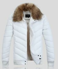 New Men's short slim down cotton coat lapel padded jacket leather outwear fur