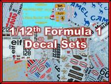 1:12 scale Formula 1 water slide decal sets to suit Tamiya / Model Factory Hiro