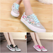 Lady's Lace Up Floral Sneakers Canvas Flat Athletic Running Sport Shoes 3 Colors