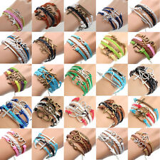 Fashion Jewelry Infinity Antique Silver Friendship Charm Leather Cute Bracelet
