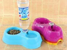 Pet Dog Cat Automatic Water Dispenser Food Dish Bowl Feeder Double Bowl