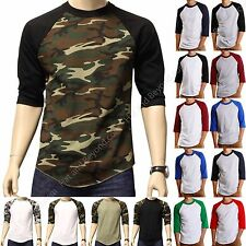 Baseball T-shirts 3/4 sleeve Raglan tee jersey camo black blue white active NEW