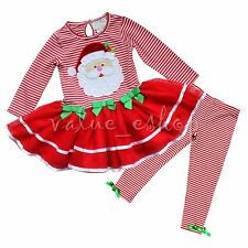 CHRISTMAS Santa Toddler Girls Dress Top Leggings Outfit 2pc Outfit Clothing Gift