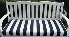 IN / OUTDOOR SWING / BENCH CUSHION-BLACK AND WHITE STRIPE - CHOICE OF SIZE