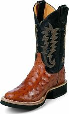 Men's Justin Full Quill Ostrich Cowboy Boots Made In USA Cognac Wide 5014