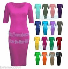 new Womens casual PLAIN short sleeves stretch FITTED MIDI bodycon Dress S-2XL